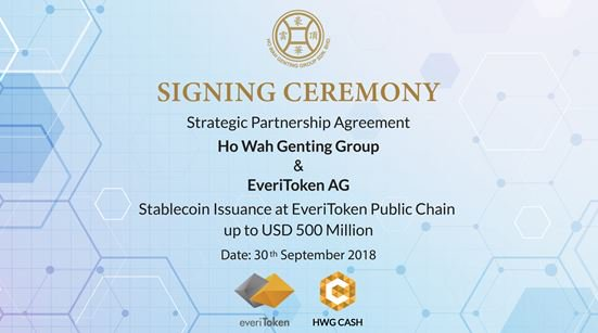 500 Million HWG Cash will be issued on everiToken public chain – Ho Wah Genting Group signed a strategic agreement with everiToken 1