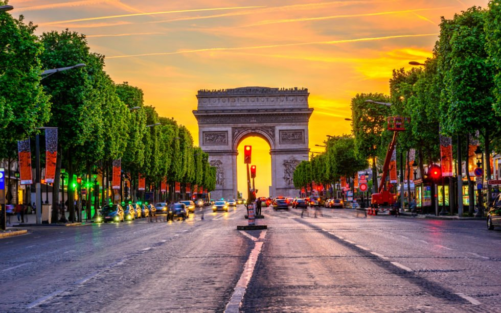 Champs-Elysees and Arc de Triomphe
