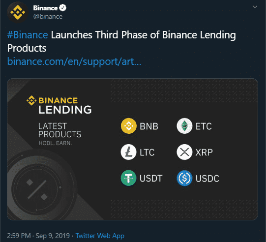 Binance Launches Third Phase of Lending, Adds Ripple, Litecoin & USD Coin 1