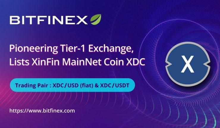 e7c2344799d5 article   bitfinex  a pioneering tier 1 exchange  lists xinfin networks native xdc token 768x432 1