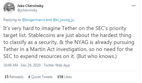 Bitfinex CTO: Tether Is Registered and Regulated Under FinCEN-USDT Not Next Target of the US SEC