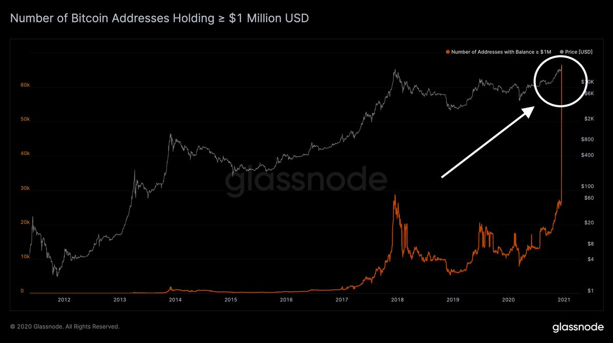 Bitcoin Addresses Holding $1 Million Goes 'Parabolic,' 10% of BTC Supply Sits Idle for 10 Years