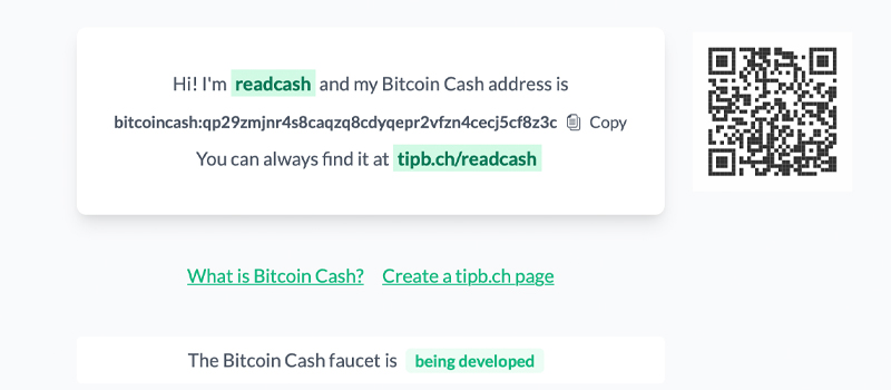 Tipb.ch App Allows You to Share a Short URL Rather Than a BCH Address on Social Media