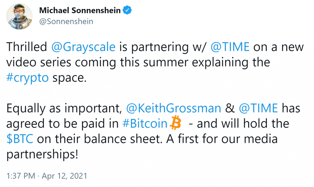 TIME Magazine Gets Into Bitcoin: Partners With Grayscale, Will Hold BTC on Balance Sheet