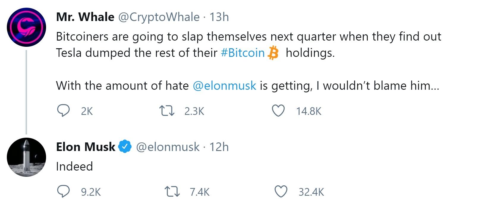 Elon Musk Discloses 'Tesla Has Not Sold Any Bitcoin'